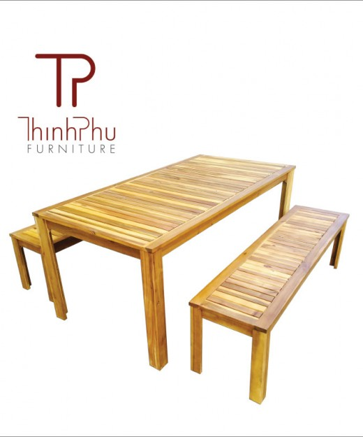 bench set in acacia