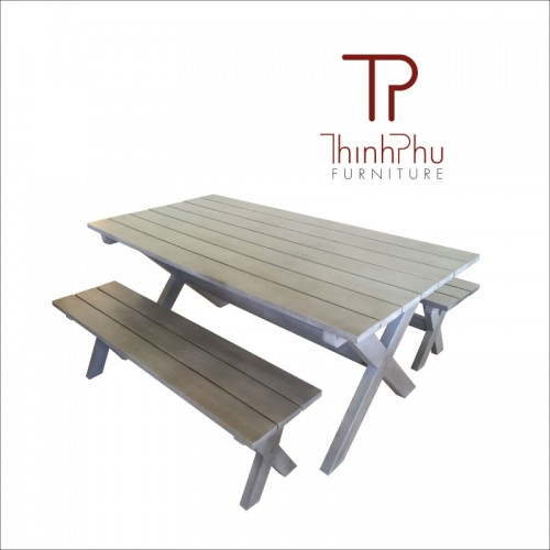 bench set in grey wash