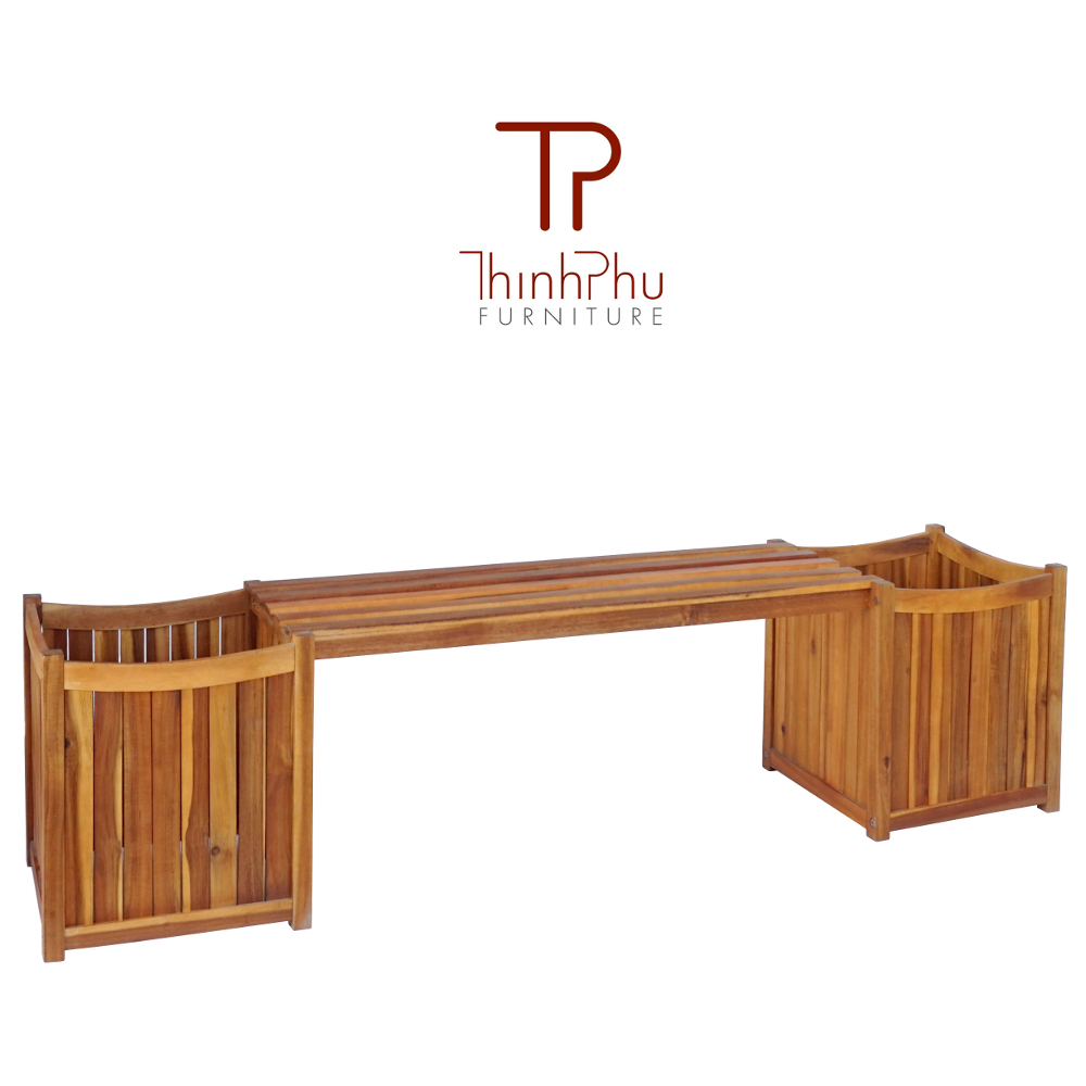 Wood Bench With Planter Thinh Phu Furniture