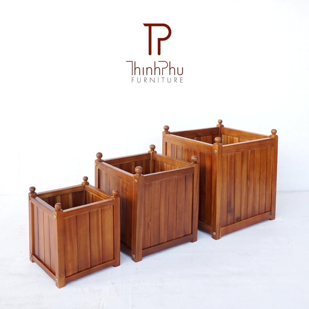 Square Acacia Planter Tpfb 03 Thinh Phu Furniture