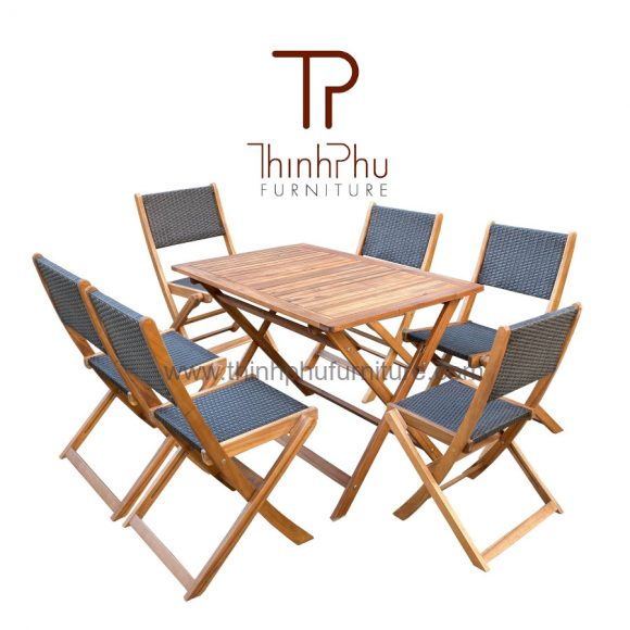 wicker mix wood garden 7pcs dining set